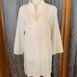 Eileen Fisher L white linen blend tunic 3/4 sleeve